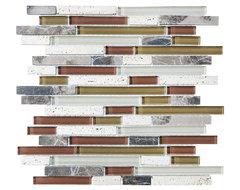 Bliss Cabernet Random Strip Mosaic Tiles, Mixed, 10 Square Feet contemporary-tile