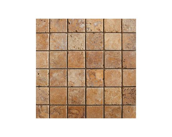 "2""x2"" Gold Travertine Tumbled Natural Stone Mosaic -"