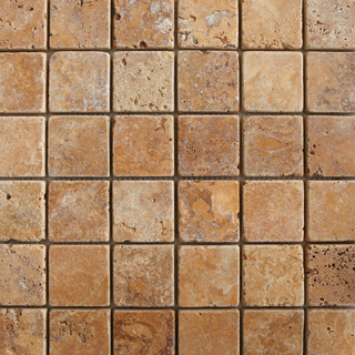 2x2 Gold Travertine Tumbled Natural Stone Mosaic contemporary kitchen tile