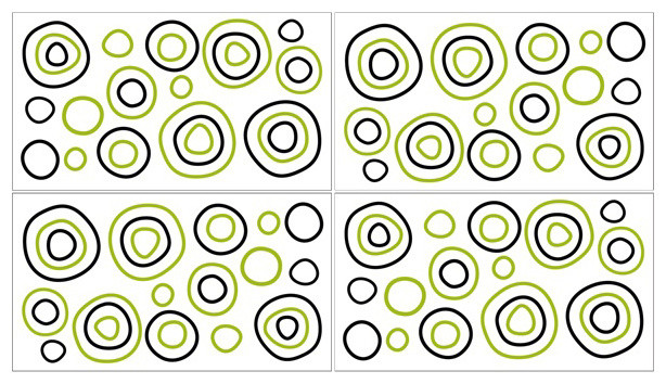 Spirodot Lime and Black Wall Decal Set of 4 Sheets by Sweet Jojo Designs traditional-kids-decor