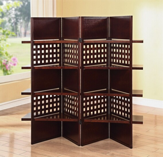 4 panel trudy brown finish wood solid panel and lattice for Lattice room divider