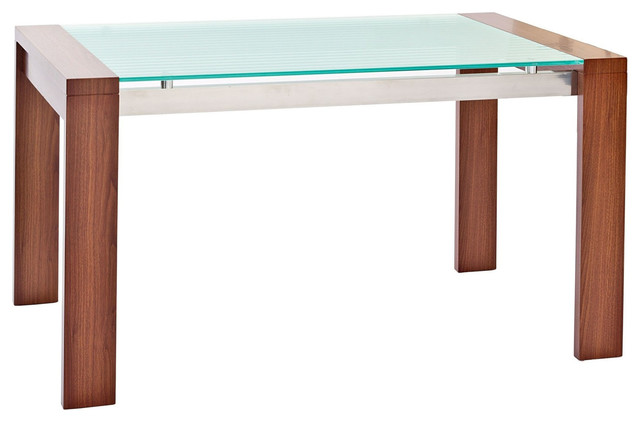 Frosted Glass Dining Table With Rich Wood Legs Modern Dining Tables