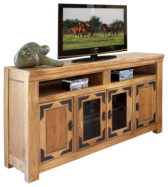 Artisan home lodge 100 62 inch tv stand in wood tone for 100 inch media console