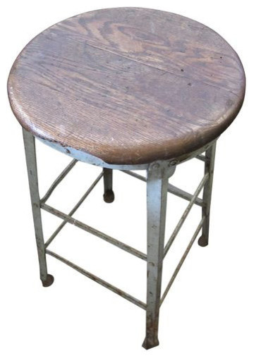Sold Out Vintage Metal Stool With Wooden Seat 200 Est