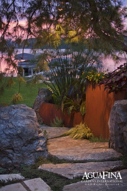 Steel and stone retaining wall industrial-landscape