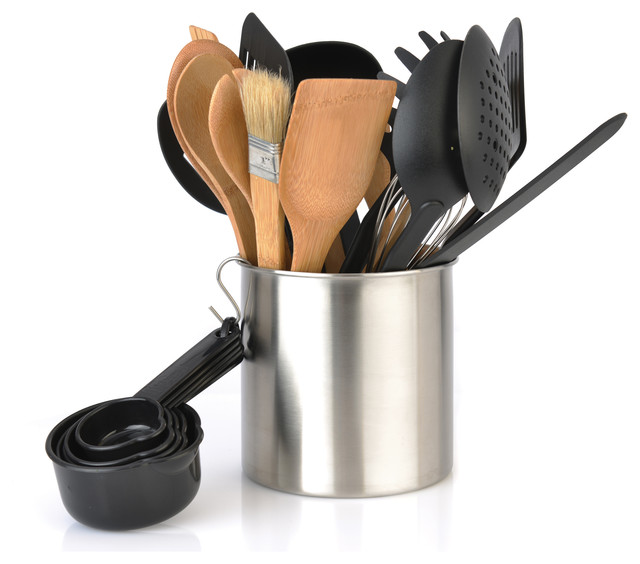 Tub of tools 23 piece contemporary kitchen tools and gadgets