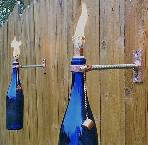 Funky Garden Wall Lights : Cobalt Blue Wine Bottle Tiki Torches, Set of 4 by Great Bottles of Fire ? More Info