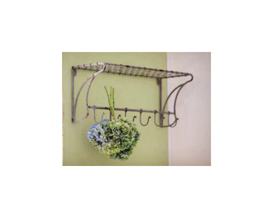 Wire Shelf with Coat Hooks -