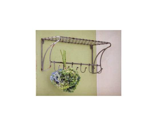 Wire Shelf with Coat Hooks -