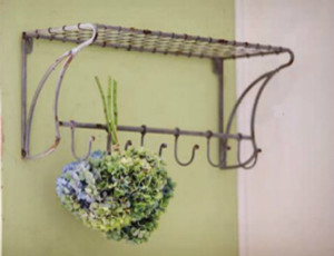 Wire Shelf with Coat Hooks traditional-display-and-wall-shelves