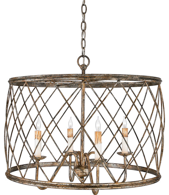 Quoizel rdy2823cs dury 4 light pendants in century silver for Houzz rustic lighting