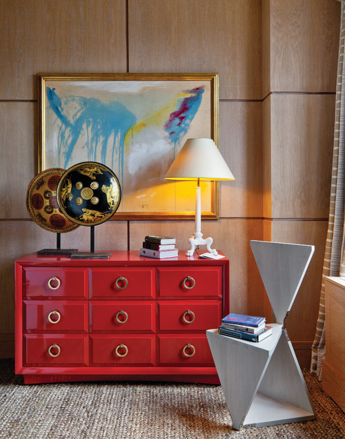 a red cabinet in a stately traditional office space