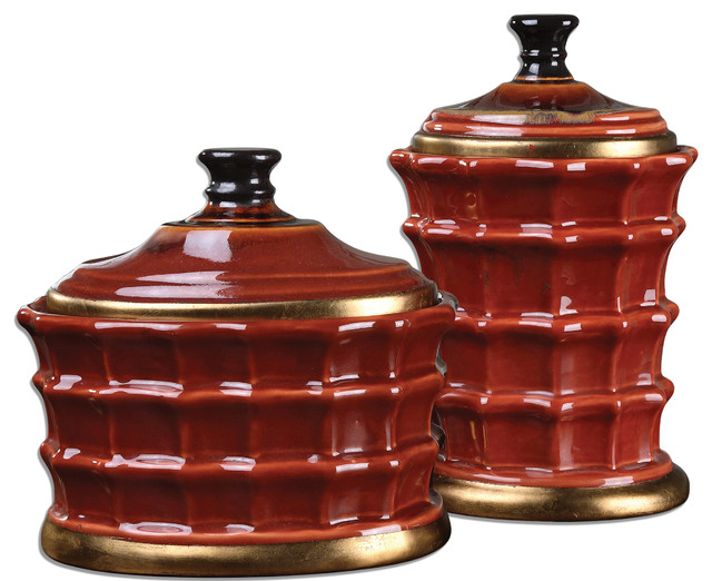 Brianna Ceramic Canisters, Set of 2 traditional-decorative-accents