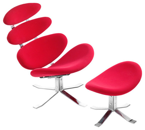 Petal Red Lounge Chair and Ottoman contemporary-living-room-chairs