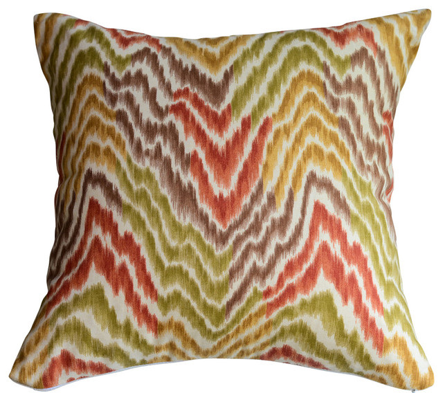 Flamestitch Pillow in Gold, Orange, Green and Brown, Without Insert - Contemporary - Decorative ...