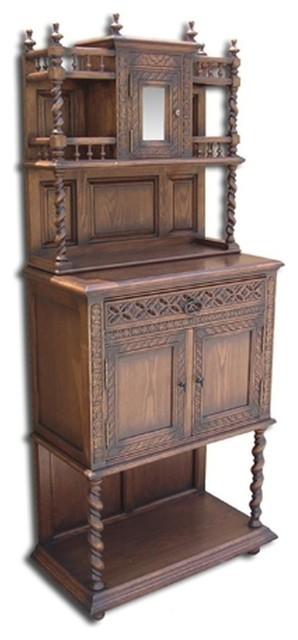 New Side Cabinet Oak Gothic Oak Barley Twist traditional-storage-cabinets