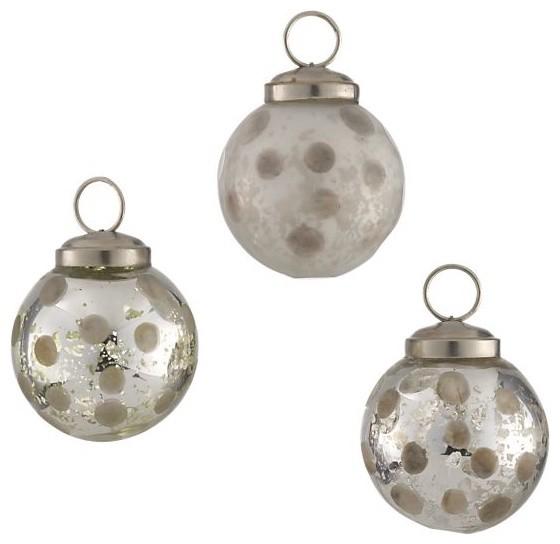 Set of 3 Antique Glass Polka Dot Ornaments - Modern - Christmas Ornaments - by Crateu0026Barrel