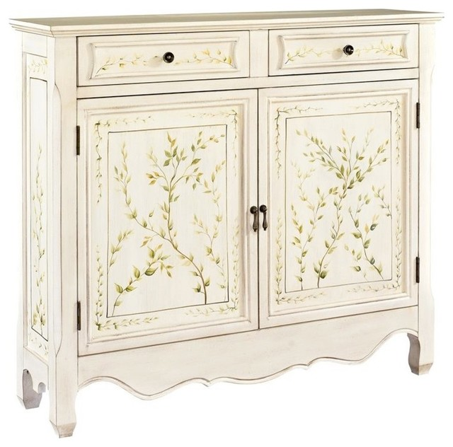 Powell Hand Painted Two Door Console In White