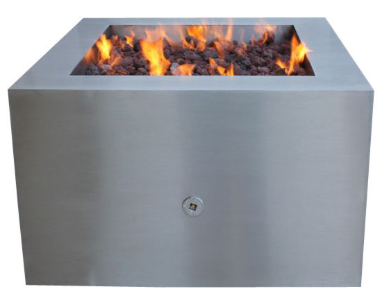 Home Infatuation - Stainless Steel Fire Pit, Fire Pit for Logs/Natural Gas - This handcrafted outdoor fire pit is constructed entirely of stainless steel and is available for burning wood only or with glass or lava rock using propane or natural gas.