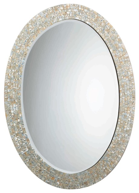 Jamie Young Mother Of Pearl Oval Mirror Wall Mirrors