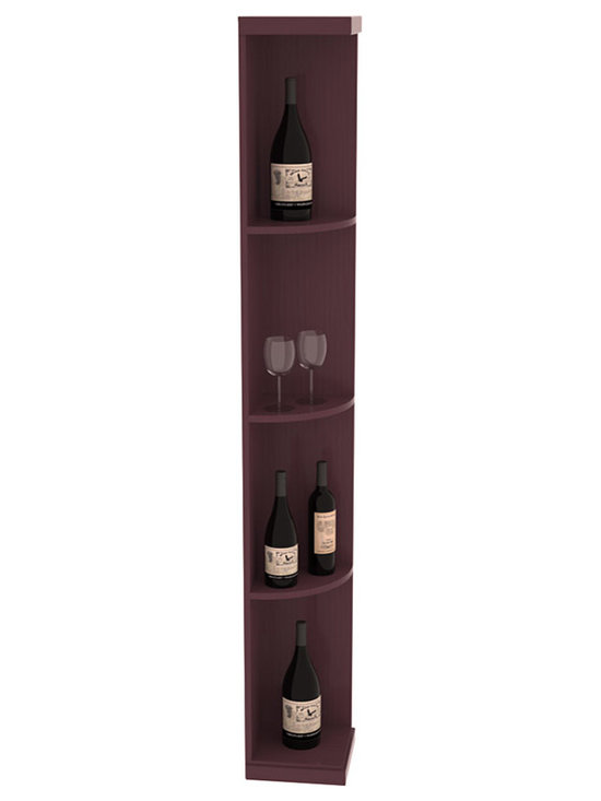 Quarter Round Wine Display in Pine with Burgundy Stain + Satin Finish - Highly decorative Quarter Round Wine Displays are the perfect solution to racking around corners. Designed with a priority on functionality, these wine storage units are excellent as end caps to walls of wine racking or as standalone shelving.