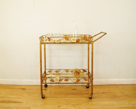 1950 Italian Faux Bamboo Cart - This might be a little ornate for some, but I think this retro Italian cart is pretty stunning. The faux bamboo legs look modern and, mixed with some sleek glassware, it would be a wonderful piece for entertaining.