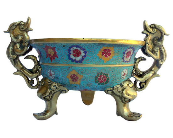 Golden Lotus - Chinese Bronze Turquoise Cloisonne Tri legs Incense Burner - This is a hand made precise Cloisonne Metal incense burner with three legs and dragon pattern handle. The body is in blue base color and oriental wire color pigment is inset around.