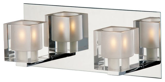 Chrome Bath Lighting Fixtures: Blocs Collection Two Light Chrome Bath Bar Light Fixture