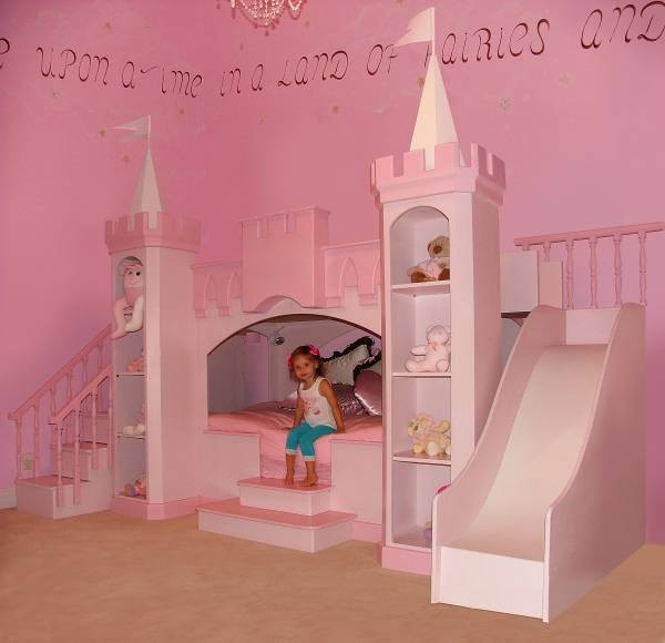 Princess bedroom girls castle bed slide staircase kids for Girls bedroom decorating ideas with bunk beds