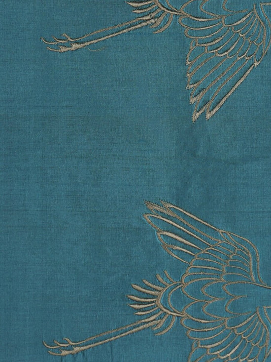 Blue Custom Made Embroidered Animal Dupioni Silk Curtains - As natural as though they were alive! The delicate embroidery of vivid cranes is full of vitality that a elegant and vivid picture is right here when the curtains are hung.