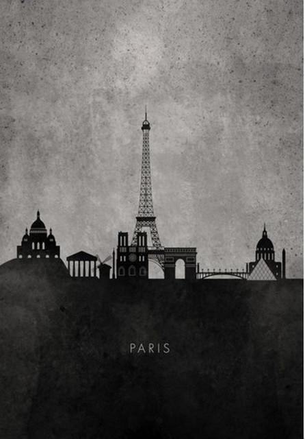 Black And White Minimalist Paris Skyline Modern