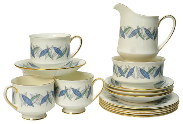 Consigned 4 Placements Bone China Tea Set w/ Plates Creamer & Sugar Bowl traditional-sugar-bowls-and-creamers