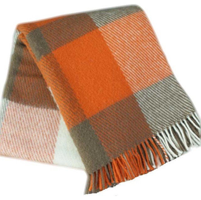 100% Lambs Wool Plaid Throw, Orange - Contemporary - Throws - by Lalapatoot