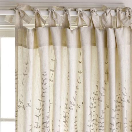 Leaf Trail Natural Lightfilter 180x250cm Tie Top Curtaine