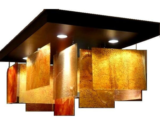 """Fused glass panels chandelier  - by GalileeLighting - Our beautiful art glass chandelier is made of a beautiful glass created in a unique technique that gives the glass the """"wrinkled"""" texture and artistic design."""
