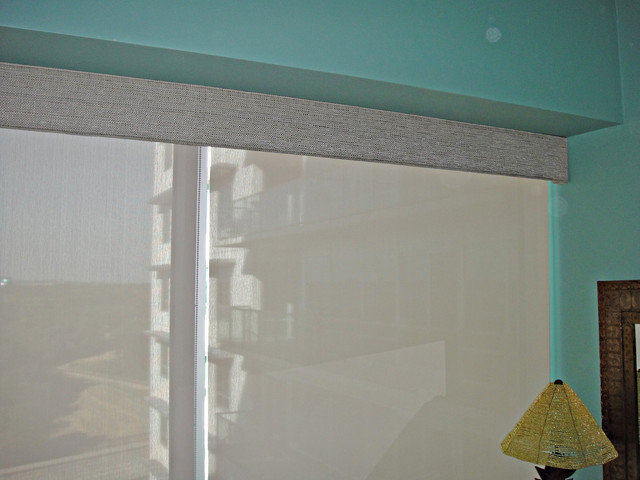 Cornice Board With Roller Shades Eclectic Window