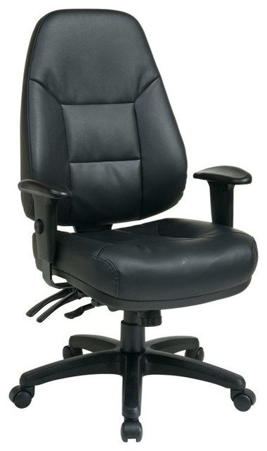 Work Smart EC Series Deluxe Multi Function High Back Black Eco Leather Chair contemporary-office-chairs