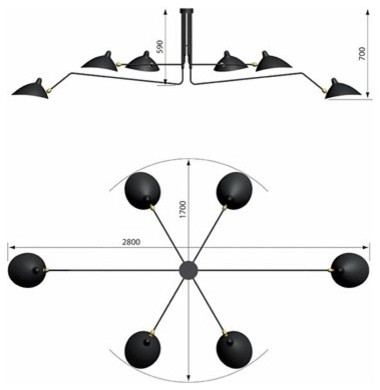 Ceiling Lamp 6 Arms By Serge Mouille Lighting modern-ceiling-lighting