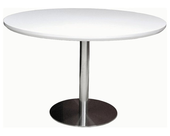 Tango Dining Table by sohoConcept - Simple and functional Tango table demonstrates refined design features with its round chrome plated steel pedestal base. MDF table top finished with high gloss white lacquer and walnut. Chrome plated steel base is also available in stainless steel finish for volume orders. Tango table arrives in three boxes.