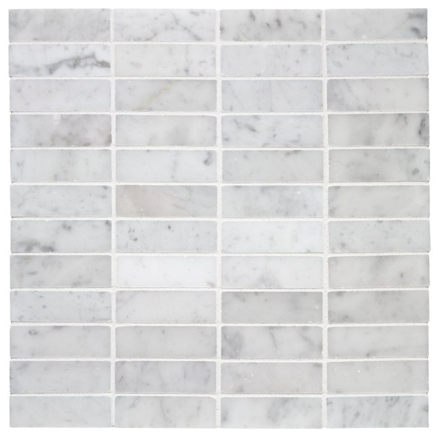 Stacked Carrara Marble Mosaic traditional-tile