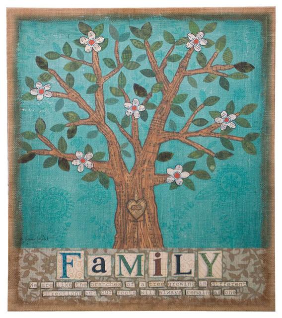 Family Tree Burlap Canvas Wall Art