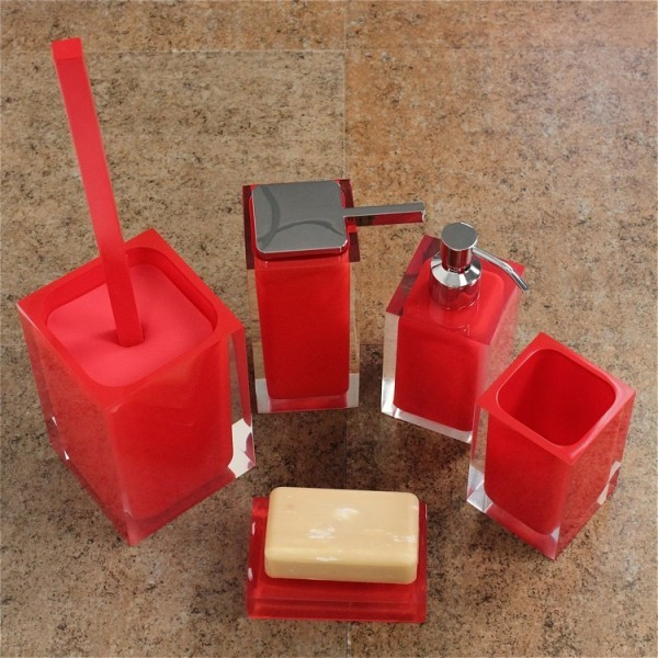 Rainbow red bathroom accessory set contemporary for Red bathroom accessories