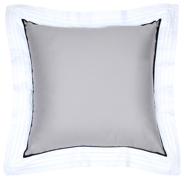 Light Gray Decorative Pillow : Sateen Light Gray Pintuck Flange Pillow - Modern - Decorative Pillows - by LaCozi