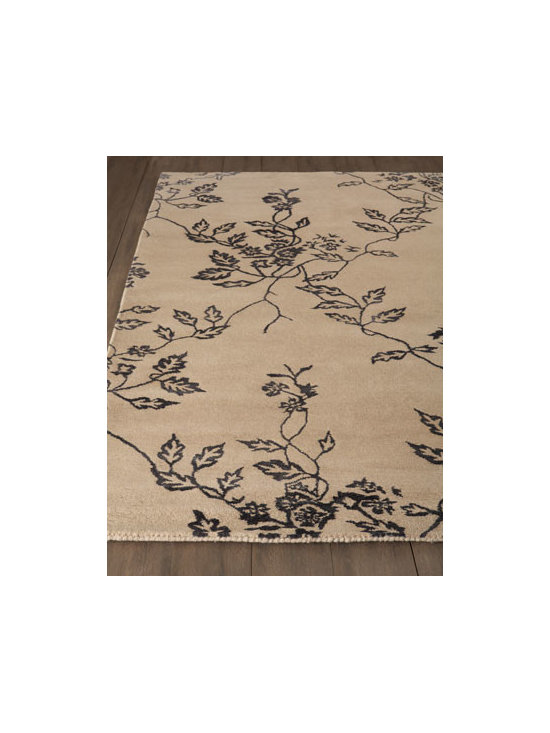 "Horchow - ""Enchanting"" Rug - Aptly named, this rug features a bold drift of foliage across a neutral ground to bring depth and texture to room settings. Hand tufted of New Zealand wool and viscose. Cotton backing. Sizes are approximate. Imported. See our Rug Guide for tips..."