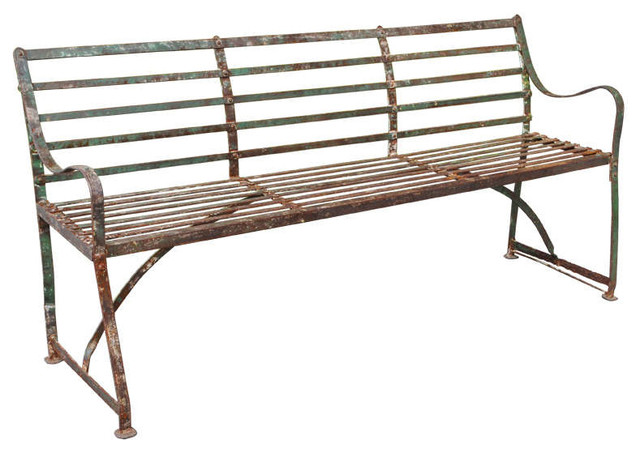 A Turn of the Century Painted, Wrought, and Cast Iron Garden Bench outdoor-benches