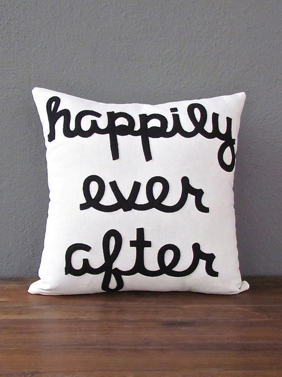 happily ever after pillow 16 x 16 – white + black - view this item on our website for more information + purchasing availability: http://redinfred.com/shop/category/free-shipping/happily-ever-after-pillow-16-x-16-white-black/