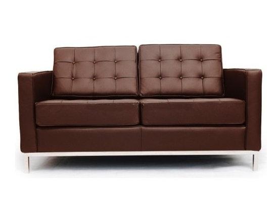 Florence Knoll Style Loveseat Italian Leather Chocolate -