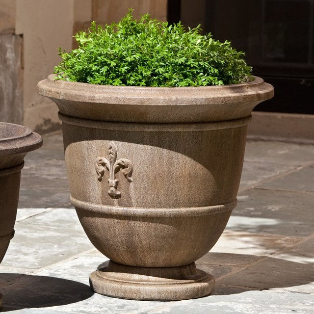 campania international fleur de lis large cast stone urn planter p 573 al contemporary. Black Bedroom Furniture Sets. Home Design Ideas
