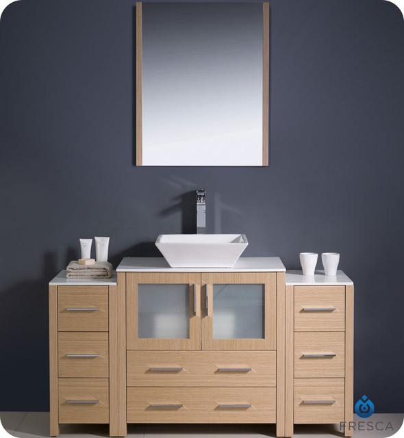"30"" to 54"" Torino Single Vessel Sink Vanity - Light Oak (FVN6230LO-VSL) modern"