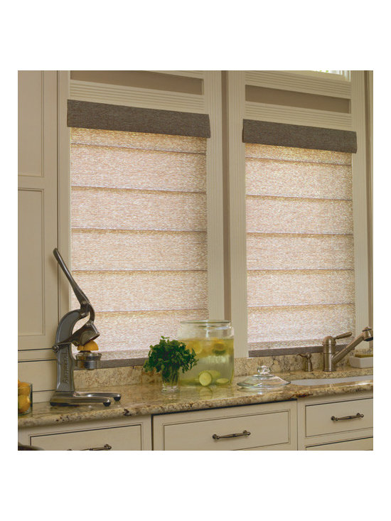 Levolor - Levolor Roman Shades: Leaf Patterns (Light Filtering) - The new and improved line of roman shades from Levolor features a broad selection of colors, fabrics and options - everything you need to find your perfect roman shade.  The Spring Leaf collection features a subtle tonal pattern of dense leaves, while the Tea Leaf collection features thinner leaves on twisting vines.
